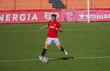 Carlos Albarrán, este pasado domingo durante la goleada contra el Andorra (4-2) antes de ser expulsado con roja directa.