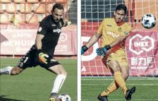 En la izquierda, Wilfred, durante un partido de esta temporada y, en la derecha, Gonzi, també en una acción con la camiseta del Nàstic.