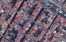 Imatge aèria on s'aprecien els patis interiors que hi ha entre els carrers Unió i Fortuny.