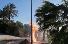 La rotura de una cañería en el Catllar provoca un escape de gas con llama