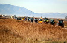 Més de 150 tractors es mobilitzen al Delta per oposar-se a l'estratègia de deixar retrocedir el Delta