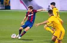 Jandro Orellana, durant un partit amb el Barça B, va ser el futbolista que hauria d'haver estat expulsat en el duel d'anada.