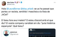 Polémica por los tuits del número 65 de la lista de JxCat contra Colau y las personas españolas