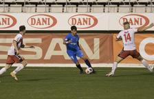 Joan Oriol, durant el partit que el Nàstic va disputar a l'Hospitalet aquest dissabte (0-0).