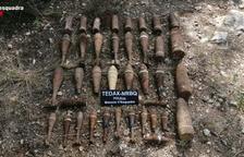 Retiran 32 artefactos explosivos de la Guerra Civil en un margen de una zona de cultivo a Xerta, en el Baix Ebre