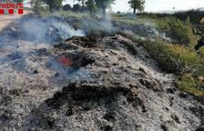 Els Bombers treballen en un incendi de vegetació agrícola a Barberà de la Conca