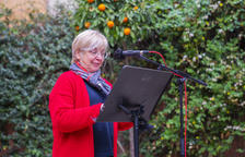 Margarida Aritzeta, durante el discurso en Casa Canals.