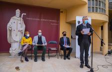 Teixell, Pallejà, Colet y Planellas, durante la presentación del libro en el jardín del Museu Bíblic.