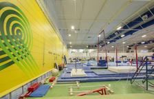 Imatge d'arxiu d'un pavelló preparat per una competició de gimnàstica.