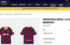 Pantallazo de la tienda del Barça donde se puede ver la camiseta de Depay.