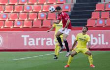 Pedro Martín, durante el Nàstic-Villarreal B de la segunda fase de la pasada temporada.