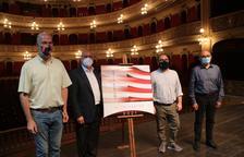 El alcalde de Reus, Carles Pellicer, el concejal de Cultura de Reus, Daniel Recasens y el gerente del Teatre Fortuny, Josep Margalef.