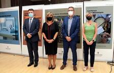 Los presidentes de las cuatro diputaciones catalanas, Joan Talarn (Lleida), Nuria Marín (Barcelona), Miquel Noguer (Girona) y Noemí Llauradó (Tarragona), a la Diputación de Lleida