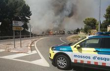 Restablecida la circulación en la N-240 en Tarragona después de estar cortada por el incendio de Sant Salvador