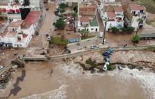 Imagen de dron de los destrozos del aguacero en Alcanar.