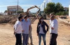La consejera de Acción Climática visitando las obras de restitución de los daños provocados por las trombas de agua en el municipio de Alcanar.