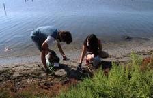 Dos voluntarios fotografiando residuos durante la acción hecha a la bahía de los Alfacs.