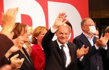 Plano medio del candidato del SPD, Olaf Scholz.