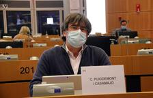 El expresidente y eurodiputado de Junts Carles Puigdemont a su llegada a la comisión de Comercio Internacional del Parlamento Europeo.