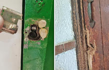 A l'esquerra, imatge del pany forçat al quartet de les eines i, a la dreta, imatge de la porta d'entrada forçada a destralades.