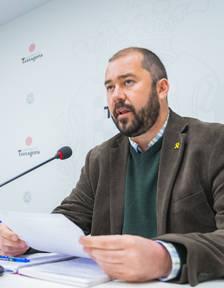Imatge del conseller de Territori de Tarragona, Xavier Puig, durant la roda de premsa.
