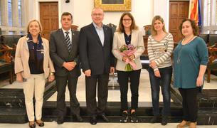 imatge de la recepció institucional a Ariana Sánchez, guanyadora del World Padel Tour.