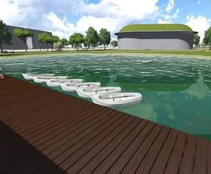 Imatge virtual de l'embarcador del llac de l'Anella.