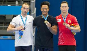Imagen de los ganadores de la final individual de gimnasia