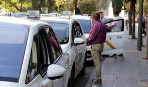 Pla obert d'una filera de taxis en una parada de Tarragona, amb alguns conductors xerrant fora dels vehicles. Imatge publicada el 28 de juny del 2018