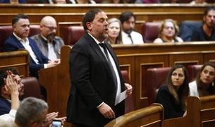 El líder de ERC, Oriol Junqueras, en el momento de prometer la Constitución al Congreso de los Diputados el 21 de mayo del 2019.