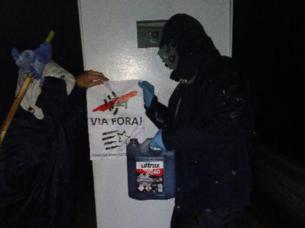 Imagen de uno de los actos vandálicos en un radar