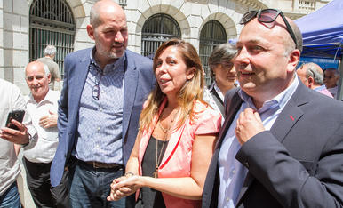 Jordi Roca, Alicia Sánchez-Camacho i Sebastià Domènech, ahir.