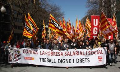La cabecera de la manifestación del 1 de mayo que Tarragona acogió en el 2016.