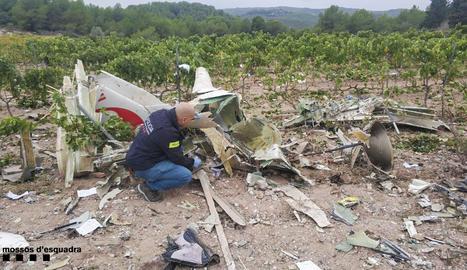 Imatge de l'avioneta estavellad a Bonastre.