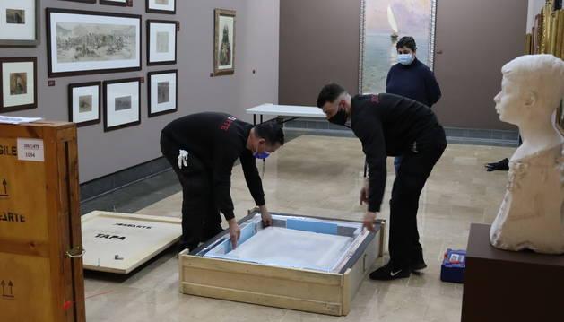 La preparació d'una de les pintures, abans de sortir de Reus.