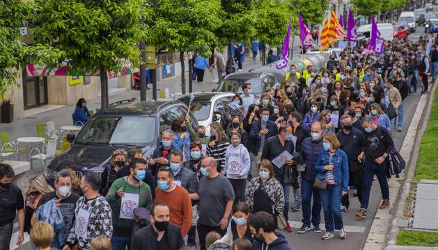 Imatge de la plantilla del BBVA a Tarragona mentre tallaven la Rambla Nova.