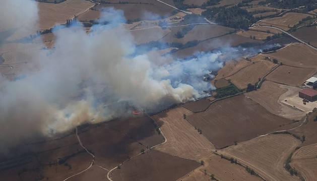 Un incendi de vegetació a Santa Coloma de Queralt obliga a tallar la T-201