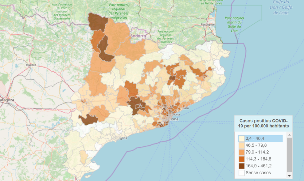 Mapa Interactiu Municipis Catalunya.El Mapa De Contagis Per Covid 19 Per Municipis De Catalunya